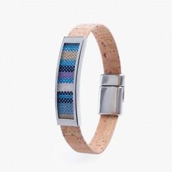 Kork Armband Platta Blå
