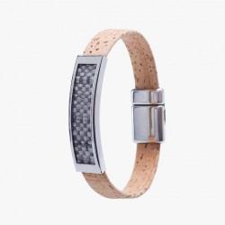 Kork Armband Platta Grå